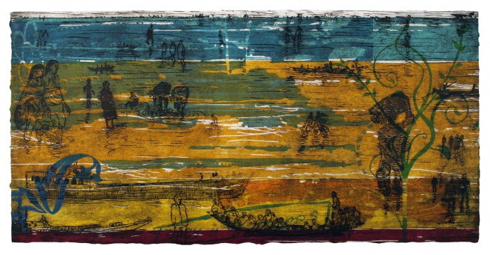 24Water and Land- woodcut 30x60